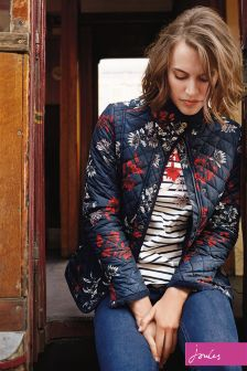 Joules Navy Floral Quilted Newdale Print Coat
