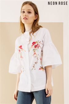 Neon Rose White Embroidered Trophy Shirt