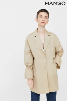 Mango Camel Flared Sleeve Trench Coat