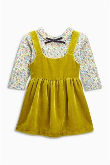 Velour Pinafore Set (3mths-6yrs)