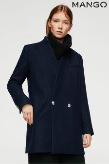 Mango Navy Smart Coat