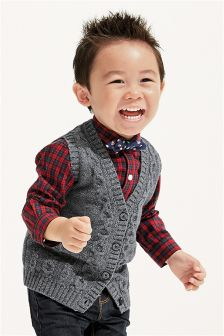 Boys Cable Waistcoat, Shirt And Bow Tie Set (3mths-6yrs)