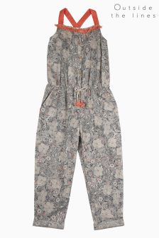 Outside The Lines Print Trimmed Jumpsuit
