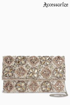Accessorize Metallic Grace Embellished Clutch Bag