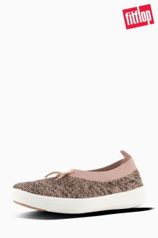 Fitflop™ Black/Nude Uberknit Slip On Ballerina With Bow