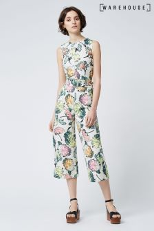 Warehouse Cream Decoupage Jumpsuit