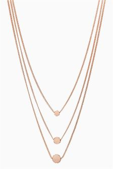 Sparkle Disc Three Layer Necklace