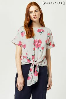 Warehouse Cream Delia Flower Tie Front Top