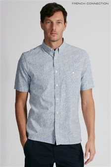 French Connection Blue Short Sleeve Floral Shirt
