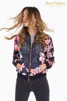 Juicy Couture Blue Floral Lace Trim Jacket