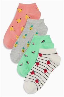 Fruit Pattern Trainer Socks Four Pack