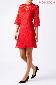 Monsoon Red Lana Lace Dress