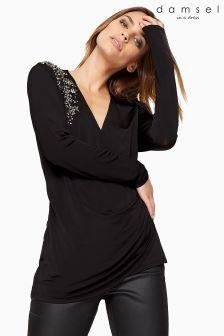 Damsel In A Dress Black Embellished Shoulder Top