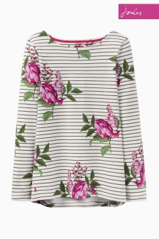 Joules Cream Floral Harbour Print Jersey Top