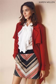 Karen Millen Red Tweed Textured Skirt