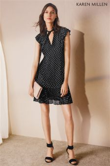 Karen Millen Black/White Polka Dot Frill Dress