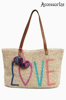 Accessorize Nude Love Packable Straw Tote Bag
