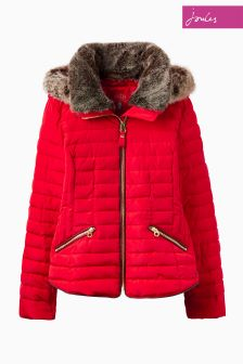 Joules Red Padded Fur Lined Hooded Jacket