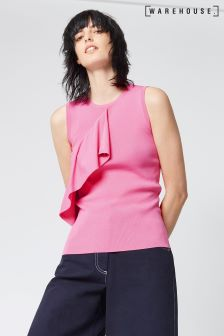 Warehouse Pink Sleeveless Ruffle Front Top