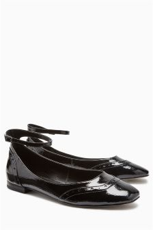 Patent Ankle Strap Brogue Ballerinas