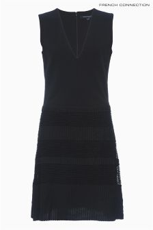 French Connection Black Lace Jersey Dress
