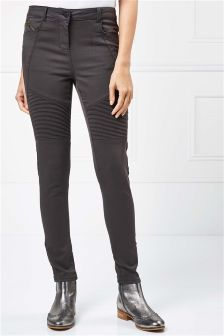 Biker Detail Skinny Trousers