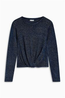 Metallic Knot Front Sweater (3-16yrs)