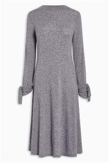 Tie Cuff Knit Look Dress