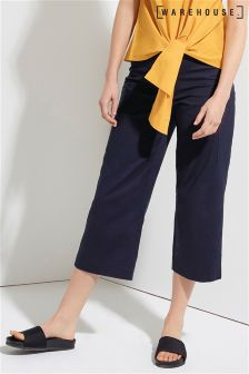 Warehouse Navy Compact Cotton Culotte