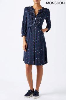 Monsoon Blue Amber Diamond Shirt Dress