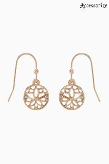 Accessorize Gold Lotus Short Drop Earrings