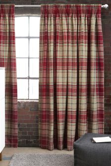 Morcott Woven Check Multi Header Lined Curtains