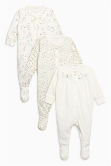 Floral Bunny Sleepsuits Three Pack (0mths-2yrs)