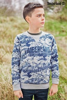 Timberland® Grey/Blue Mountain Print Crew Sweater