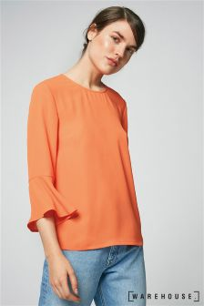 Warehouse Orange Plain Flute Sleeve Top