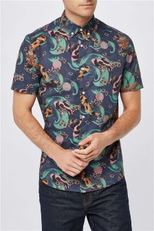 Carp Print Short Sleeve Shirt