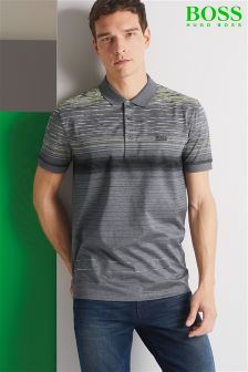 Boss Green Grey Stripe Paddy 3 Poloshirt