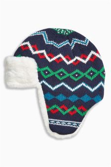 Fairisle Pattern Trapper Hat (Older Boys)