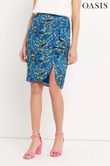 Oasis Black Topaz Bird Ruffle Skirt