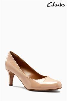 Clarks Nude Patent Arista Abe Mid Heel Court Shoe