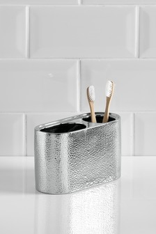 Hammered Effect Toothbrush Tidy