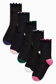 Frill Top Ankle Socks Five Pack