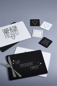 Set Of 8 Slogan Placemats And Coasters