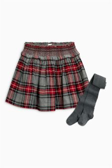 Check Skater Skirt With Tights Set (3-16yrs)