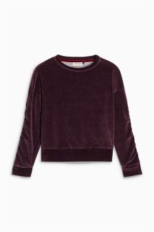 Velour Ruched Sleeve Sweater (3-16yrs)