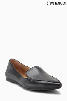 Steve Madden Black Leather Point Loafer