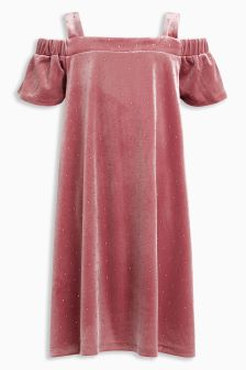 Velour Open Shoulder Dress (3-16yrs)
