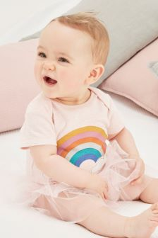 Rainbow Tutu Short Sleeved Bodysuit (0-12mths)