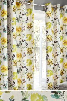 Watercolour Flourish Print Eyelet Curtains