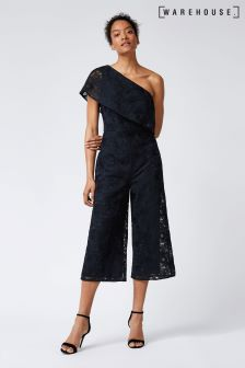Warehouse Navy Floral Jacquard One Shoulder Jumpsuit